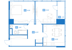 Планировка 2-комнатной квартиры в Савеловский Сити